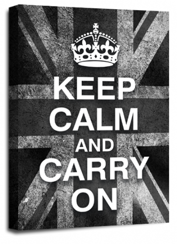 Keep Calm Carry On Wall Art Grey White British Flag